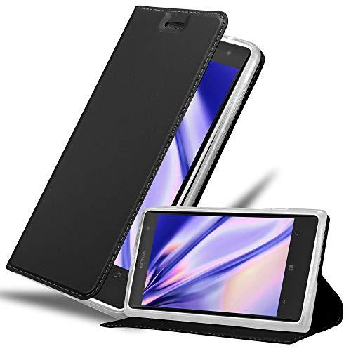 Cadorabo Funda Libro para Nokia Lumia 1020 en Classy Negro - Cubierta...
