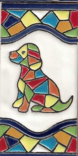 TORO DEL ORO Números casa. Numeros y Letras en azulejo. Ceramica esmaltada, Pintados a Mano técnica Cuerda Seca. Nombres y direcciones. Diseño Mosaico Mediana 5,5x10,5 cm (Perro)