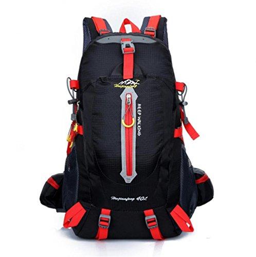 GAOHAILONG 40L Nylon imperméable Femmes & Hommes Voyage à Dos de randonnée Camping Escalade Rucksack Alpinisme Randonnée à vélo Sports de Plein air Sac, Black