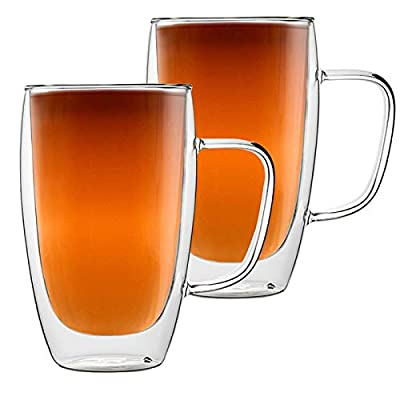 Double Walled Glass Coffee Cups, Set of 2 Large Glass Tea Cup with Handle,15oz/450ml Tall Insulated Coffee Mugs Perfect for Cappuccino, Macchiato, Latte, Tea, Juice, Iced& Hot Beverages