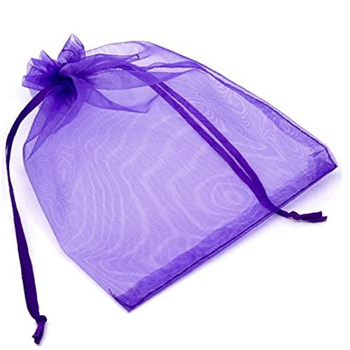 Bolsa De Organza 10pcs Regalo Dulce De De Empaquetado Fiesta De Cumpleaños Bolsas De Suministros del Favor De La Joyería del Organizador del Almacenaje Púrpura