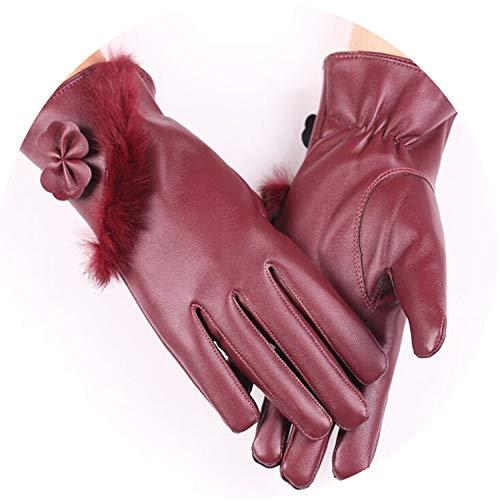 Touched Screen Handschuhe PU Leder Damen Handschuhe wasserdicht Kunstleder Kaninchen dick Warm Frühling Winter Handschuhe, Damen, Oblique Hair Red, Einheitsgröße
