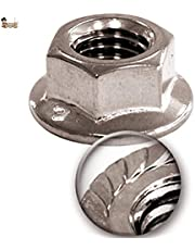 BricoLoco Tuerca inoxidable dentada con arandela, brida de bloqueo o valona. Autoblocante. Hexagonal rosca métrica. DIN 6923. Moleteada.