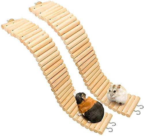 Wonninek Puente de Escalera de Madera para Mascotas, Paquete de 2, Juguete de Puente Suave para Animales, Jaula Flexible, Juguete de hábitat para hámster, ratón, Ardilla y Otros Animales pequeños