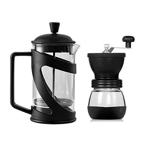 French Press ekspres do kawy, francuska praska do kawy z trzema filtrami tłok ze stali nierdzewnej i żaroodporne szkło ręczny ekspres do kawy, 600 ml młynek do ziaren