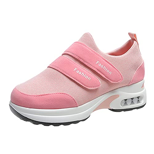 Zapatillas de deporte para mujer, para correr, caminar, hacer deporte, fitness, informales, transpirables, para caminar, correr, para exteriores, gimnasia., Rosa., 37 EU