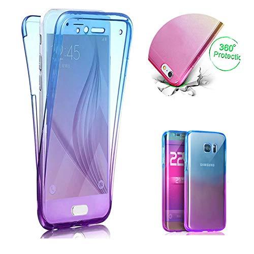 Bleu + Violet TPU Coque pour Galaxy A70,2 en 1 Silicone Clair Coque pour Galaxy A70,Moiky Élégant Créativité 360 Degré Housse Complète Avant et arrière Ultra-mince Doux Gel Étui Coque