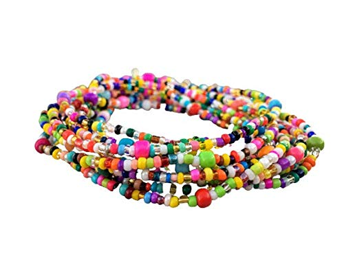 Belly bead, Waist beads, Stretchy Elastic String, Multi-colored Jewlery, Beaded Body Jewelry, African Waist bead, Waist chain, Wear as Necklace Bracelet or Anklet.