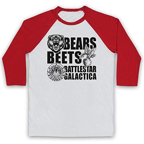 Inspired Apparel Inspirado por Office US Bears Beets Battlestar Galactica No Oficial Manga 3/4 Camiseta del Béisbol