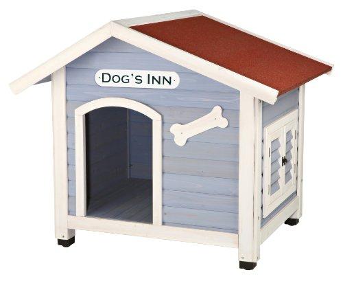 Trixie 39513 natura Hundehütte Dog's Inn mit Satteldach, M–L: 107 × 93 × 90 cm, hellblau/weiß