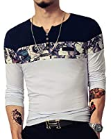 LOGEEYAR Men's Casual Slim Fit Long Sleeve Color Block Printing Henley T-Shirts(White,XL)