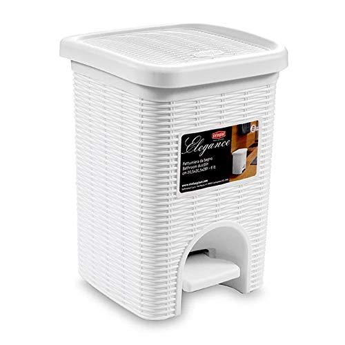 LXZ#Homegift Vuilnisbak Plastic Rotan Stijl Vuilnisbak Vierkant Verticaal Dubbellaags Vuilnisbak Bin Voet Type 20L, 27cm*30,5 cm*37,5 cm