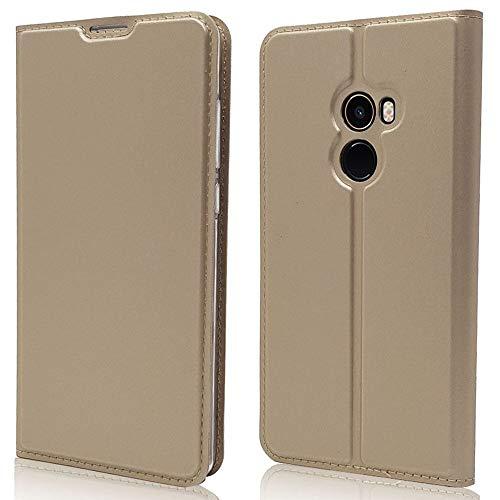 Sangrl Funda para Xiaomi Mi Mix 2, Libro Cuero de la PU Leather Case Soporte Plegable Premium Flip Case para Xiaomi Mi Mix 2 - Gold