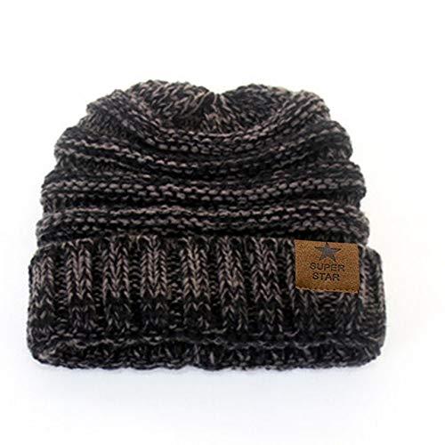 Invierno Tapas de señora Caliente del Sombrero del Invierno para Las Mujeres Girl 'S Gorro de Punto Gorros Sombrero del Casquillo Grueso Femenino de laGorros-Black and Grey