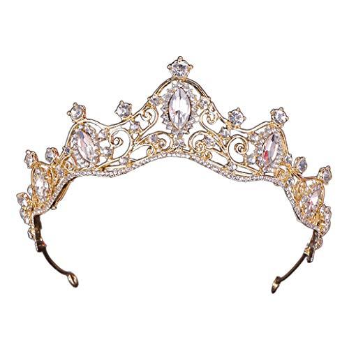 VONGEE花嫁プリンセスラインストーンインレイヘッドドレスファッション女性ブライダルクラウンティアラウェディングパーティーヘアジュエリーアクセサリーヘッドドレスゴールド