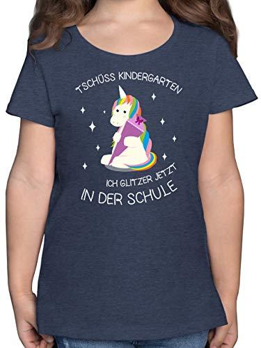 Einschulung und Schulanfang - Einschulung Einhorn Tschüss Kindergarten Schultüte - 140 (9/11 Jahre) - Dunkelblau Meliert - schultüte klein - F131K - Mädchen Kinder T-Shirt