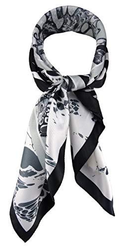 TigerTie Damen Nickituch Halstuch in grau silber schwarz weiss gemustert - Größe 60 x 60 cm