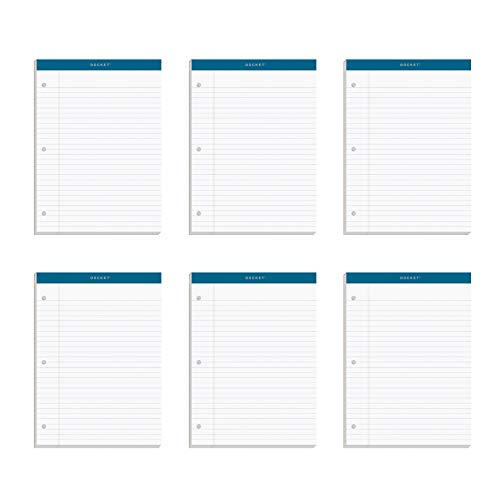 TOPS 63437 Double Docket Ruled Pads, 8 1/2 x 11 3/4, White, 100 Sheets (Pack of 6 Pads)