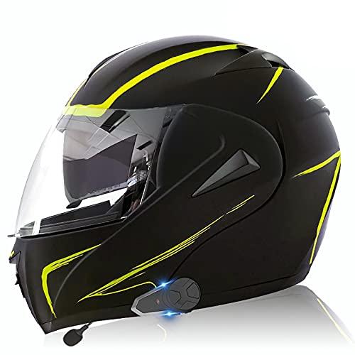 Casco Bluetooth para motocicleta, Casco modular ECE/DOT, Walkie-Talkie MP3 FM incorporado, Asistente de viaje con sistema de comunicación, Lente negra y transparenteXUE 10,L=59-60CM
