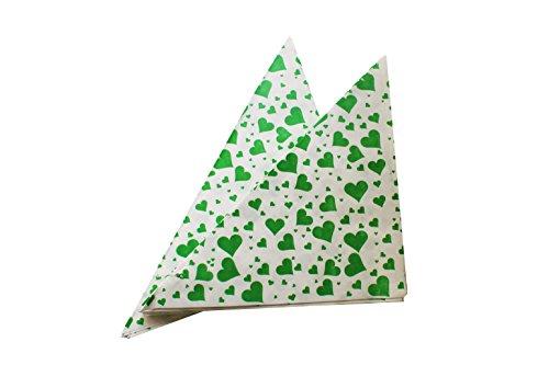 Imbiss- und Partyzubehör Spitztüten aus Papier Herzen Länge ca. 19 cm für ca. 125 g Inhalt (100 Stück, GRÜN)