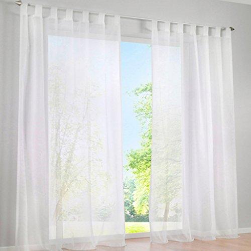 SIMPVALE 2 Stücks Voile Vorhänge zu Gürtelschlaufe transparent Vorhänge Fenster Balkon aus Tüll Breite 140cm, Polyester, weiß, Höhe 145cm