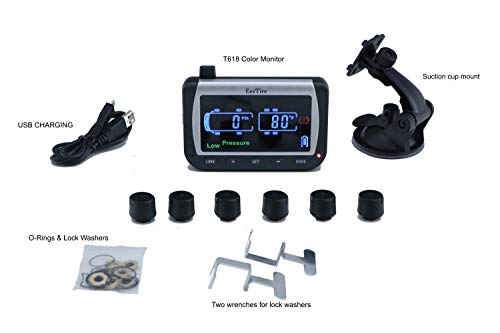 EEZTire-TPMS6 Real Time/24x7 Tire Pressure Monitoring System - Color Monitor + 6 at Sensors w/3-Year...