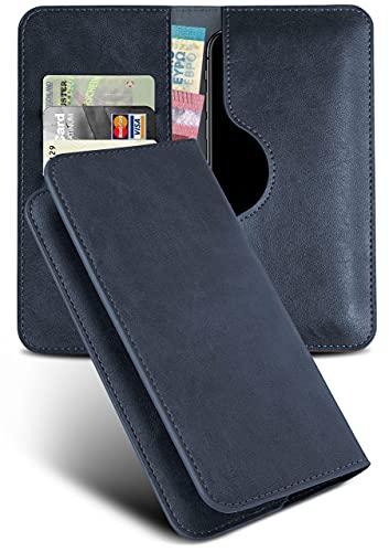 moex Excellence Line Handytasche kompatibel mit Wiko Lenny 2 | Hülle Dunkel-Blau - Mit Kartenfach und Geld + Handy Fach, Klapphülle, Flip-Hülle Tasche, Klappbar