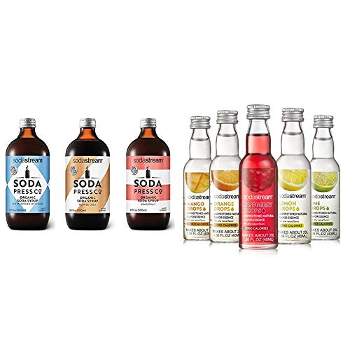SodaStream Soda Press Classic Mixers Variety Pack, 16.9 Fl Oz, Pack of 3 & Fruit Drops Variety Pack, 1.67 Pound