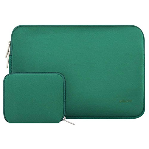 MOSISO Laptop Sleeve Compatible with MacBook Pro 15 inch Touch Bar A1990 A1707, Dell XPS 15,ThinkPad X1 Yoga (1-4th Gen),Surface Laptop 3 15, Water Repellent Neoprene Bag with Small Case,Peacock Green
