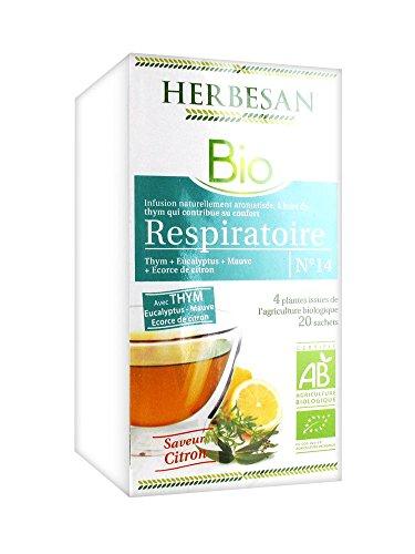 HERBESAN INFUSION THYM RESPIRATOIRE BIO Thym, Eucalyptus, Mauve, Ecorce de citron - 20 sachets