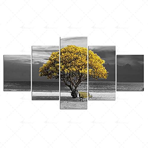 NNNLX Cuadros en Lienzo,Modular Decoración De Pared Póster,5 Piezas Cuadro, Árbol Solitario,Pinturas Al Óleo, con Marco,Regalo Creativo del Hogar