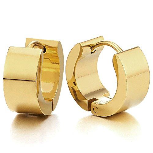 Paar Gold Creolen für Herren Damen, Edelstahl Huggie Ohr Manschette Ohrringe, Fake Piercing