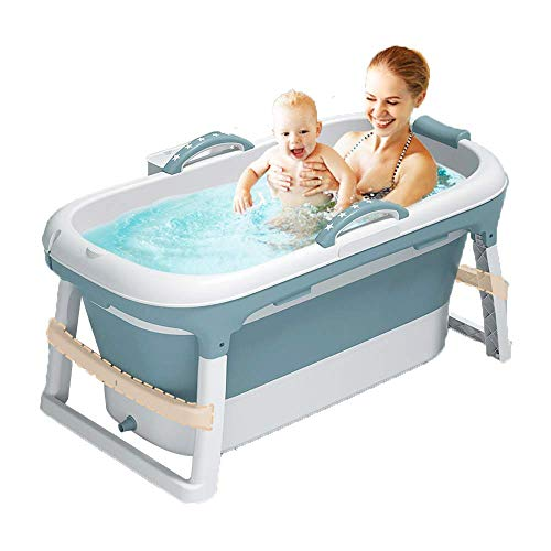 W WEYLAN TEC 47 inch Luxury Large Foldable Bath Tub Bathtub for Toddler Children Twins Petite Adult Handle Drain Hose Blue without Lid