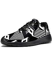 TIZORAX Sport Hardloopschoenen voor Vrouwen Zwart en Wit Retro Geometrische vormen Patroon Mode Sneakers Mesh Ademend Wandelen Tennisschoen