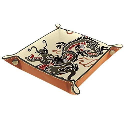 Caja de almacenamiento pequeña, bandeja de valet para hombre,Dragón (2) ,Organizador de cuero para llaves de caja de monedas