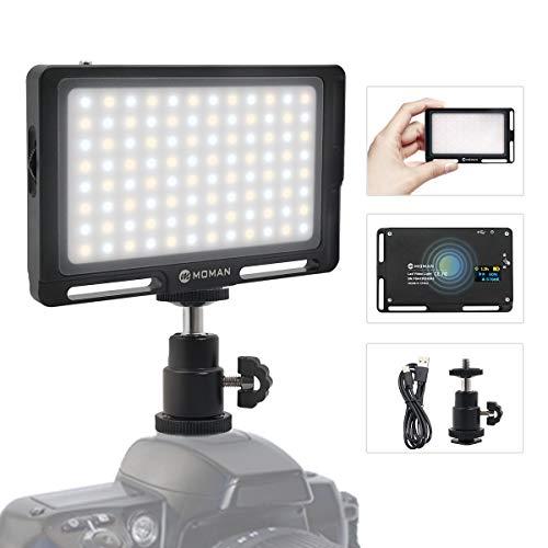 """Moman Luce LED Faro Fotografia, Fillipo LED Reflex 4.7"""" 147g, Faretto LED Video Dimmerabile Bi-Color 3000K- 6500K, TLCI/CRI 96+, Cavo di Tipo-C Incluso, Nero"""