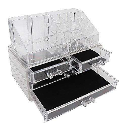 Stockage de comptoir multifonctionnel, étui de rangement en acrylique transparent pour organisateur de maquillage pour ongles, conteneur d'affichage de support de bijoux à brosse cosmétique avec(#2)