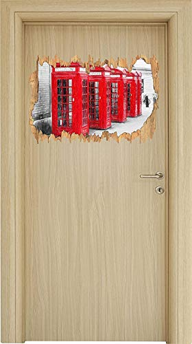 UYEDSR Pegatinas de Pared Cabina de teléfono roja de Londres Arte Efecto lápiz de Color Avance de Madera en Apariencia 3D Etiqueta o de la Puerta Etiqueta calcomanía 62x42cm