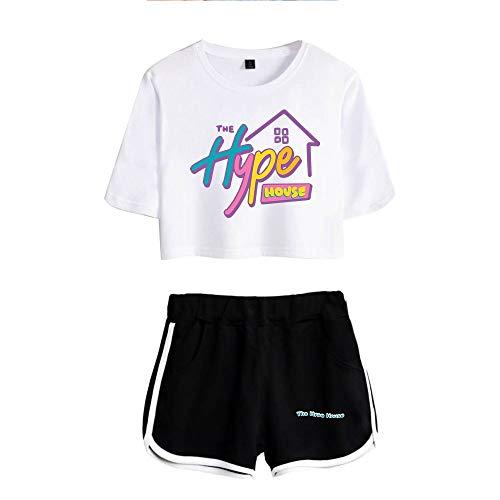 HYPETY Filles Crop Top & Shorts 2 Pièces T-Shirt À Manches Courtes Top Et Shorts Ensemble Survêtement De Course D'été Casual Sportswear Pyjamas Vêtements De Yoga,White 1,XS