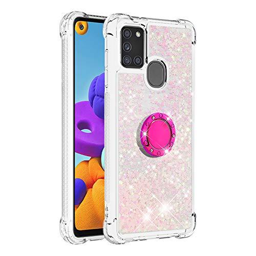 Hülle für Samsung Galaxy A21S Diamant Ring Flüssig Treibsand Silikon TPU Bumper Hülle für Samsung Galaxy A21S(Fluoreszierende rosa Sterne)