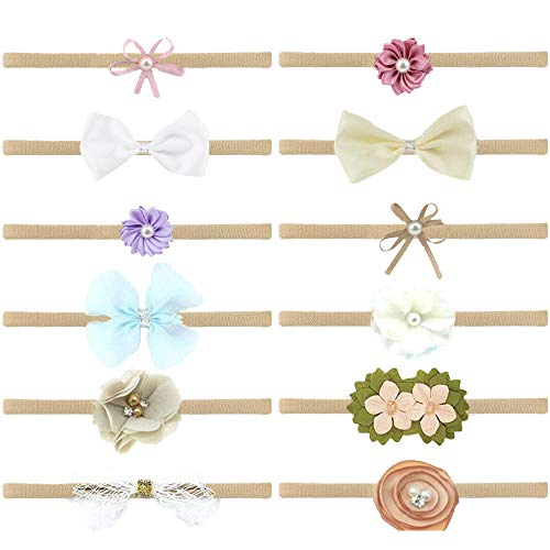 DoGeek Nylon Headbands Baby 12 Pcs Baby Girl Hairbands and Bows Newborn Infant Toddler Hair Accessories (Apparel)