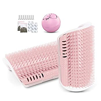 JEEZAO 2 Pièces Brosse Angle de Toilettage Massage pour Chat,Chats Cheveux Peigne avec Herbe à Chat pour Massage Outil de démangeaisons (Rose)