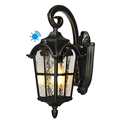 DEWENWILS Outdoor Wall Light with Dusk to Dawn Sensor, Vintage Light Fixtures Wall Mount, Anti-Rust & Waterproof, Water Ripple Glass, Exterior Wall Lantern for House, Garage, Porch, ETL Listed