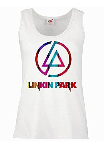 LaMAGLIERIA Tank Top Damen Linkin Park - Ultracolor 100% Baumwolle, S, weiß