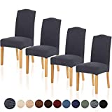 TIANSHU Stretch Dining Room Chair Cover for Home Decor Durable Washable Dining Chair Slipcover Antislip Parson Chair Cover (4 Pack, Gray)