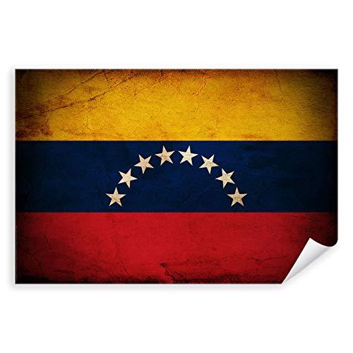 Postereck - 0371 - Vintage Flagge, Fahne Venezuela Caracas - Unterricht Klassenzimmer Schule Wandposter Fotoposter Bilder Wandbild Wandbilder - Poster mit Rahmen - 29,0 cm x 19,0 cm