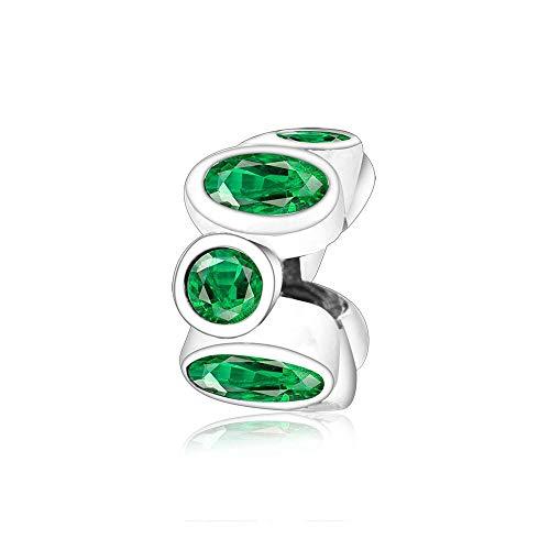 Auténtica Pandora 925 Cuentas De Plata Esterlina Diy Espaciador De Circonita Verde Fit Original Charm Bracelet Jewelry Classic Vintage Style Berloque