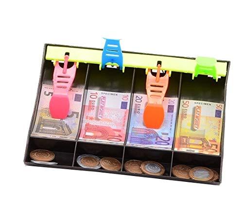 JohnToy 27539 Home and Shopping Euro-Spielgeld mit Registrierkassenlade, Mehrfarbig