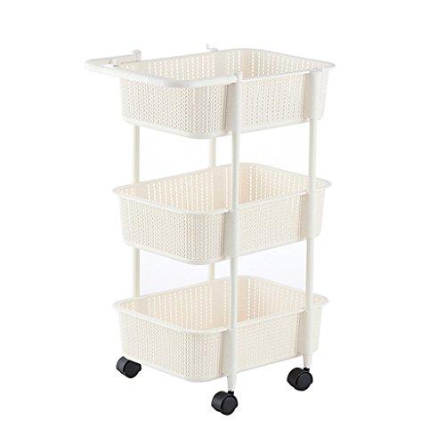 YXN Plastikbadezimmer-Regal-dreifach Regal-Küche-Regal-Toiletten-Regal-Flaschenzug-Badezimmer-Regal (Bodentyp) (Farbe : Weiß)