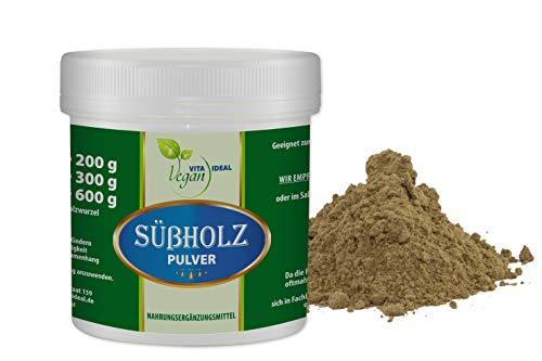 VITAIDEAL VEGAN® Süßholz-Pulver (Glycyrrhiza) 300g. Pulver inklusive Messlöffel, rein natürlich ohne Zusatzstoffe.